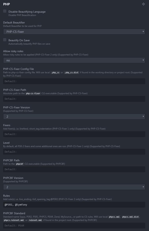 atom-beautify 下的 PHP 配置