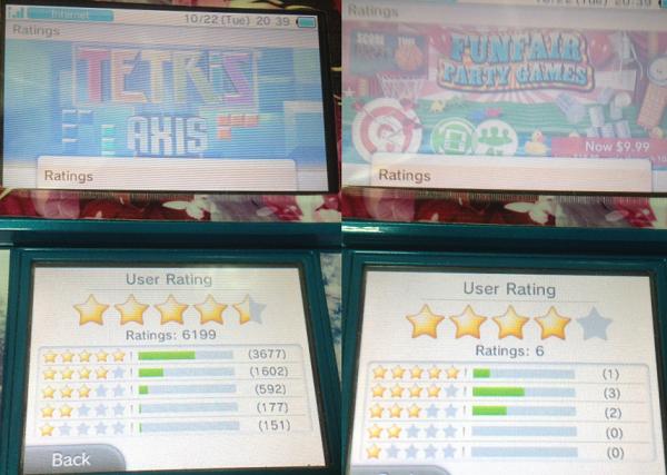 Funfair Party Games与Tetris评级对比图