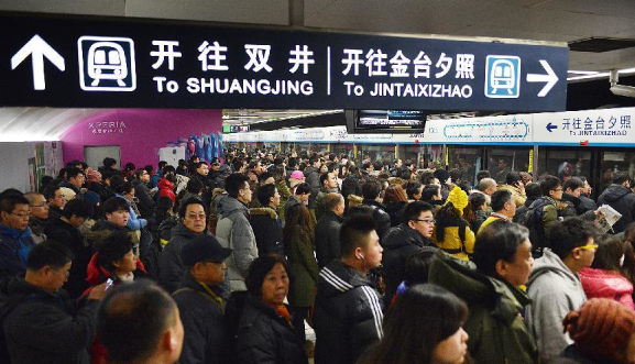 拥挤的北京10号线